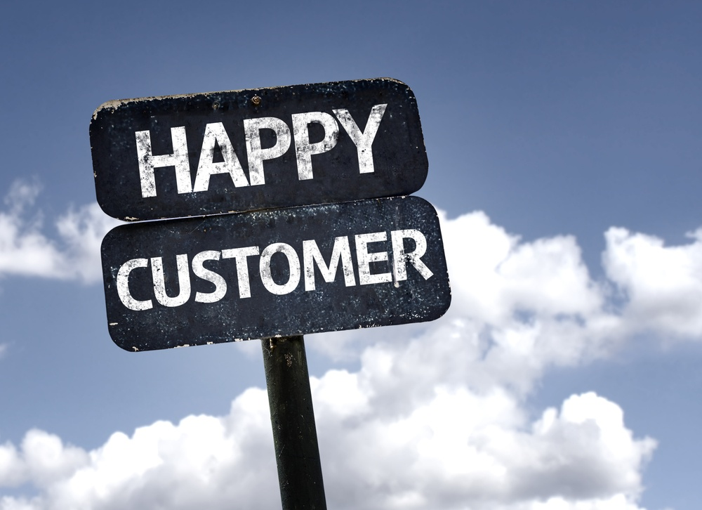 Happy Customer sign with clouds and sky background .jpeg